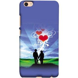 FUSON Designer Back Case Cover for Vivo V5 (Couple Enjoying Beautiful Sunrise Red Hearts Sunshine)