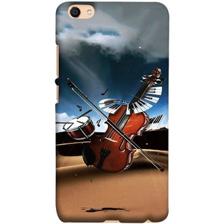 FUSON Designer Back Case Cover for Vivo V5 (Musical Instrument Vintage Bass Music Lovers Play)