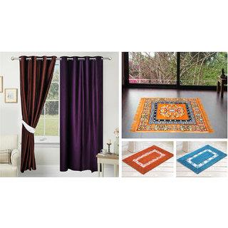 Azaani Beautiful Solid Set Of 2 Polyester Door Curtain With 1jute Sitting Mat &  2 Bathmat ,AZ2SOLIDCURTAIN1ORANGESITTINGMAT2BATHMAT-435