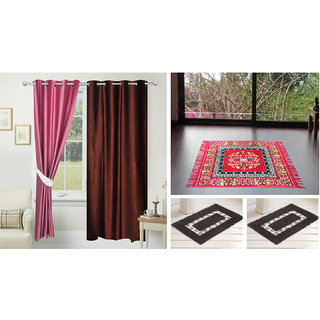 Azaani Beautiful 2 Solid Door Curtains With 1 Red Jute Seating Mat & Two Bathmat ,AZ2SOLIDCURTAIN1REDSITTINGMAT2BATHMAT-217