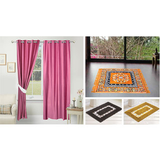 Azaani Beautiful Solid Set Of 2 Polyester Door Curtain With 1jute Sitting Mat &  2 Bathmat ,AZ2SOLIDCURTAIN1ORANGESITTINGMAT2BATHMAT-475