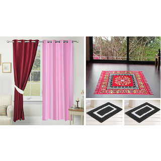 Azaani Beautiful 2 Solid Door Curtains With 1 Red Jute Seating Mat & Two Bathmat ,AZ2SOLIDCURTAIN1REDSITTINGMAT2BATHMAT-195