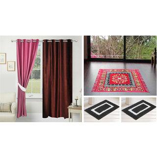Azaani Beautiful 2 Solid Door Curtains With 1 Red Jute Seating Mat & Two Bathmat ,AZ2SOLIDCURTAIN1REDSITTINGMAT2BATHMAT-219