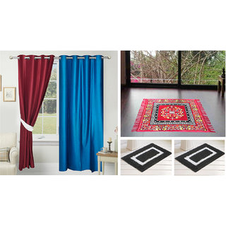 Azaani Beautiful 2 Solid Door Curtains With 1 Red Jute Seating Mat & Two Bathmat ,AZ2SOLIDCURTAIN1REDSITTINGMAT2BATHMAT-177