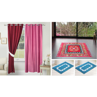 Azaani Beautiful 2 Solid Door Curtains With 1 Red Jute Seating Mat & Two Bathmat ,AZ2SOLIDCURTAIN1REDSITTINGMAT2BATHMAT-204