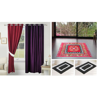 Azaani Beautiful 2 Solid Door Curtains With 1 Red Jute Seating Mat & Two Bathmat ,AZ2SOLIDCURTAIN1REDSITTINGMAT2BATHMAT-207