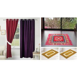 Azaani Beautiful 2 Solid Door Curtains With 1 Red Jute Seating Mat & Two Bathmat ,AZ2SOLIDCURTAIN1REDSITTINGMAT2BATHMAT-208