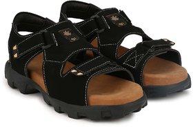 Lee Peeter Men's Black Velcro Sandals