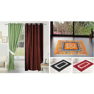 Azaani Beautiful Solid Set Of 2 Polyester Door Curtain With 1jute Sitting Mat &  2 Bathmat ,AZ2SOLIDCURTAIN1ORANGESITTINGMAT2BATHMAT-572