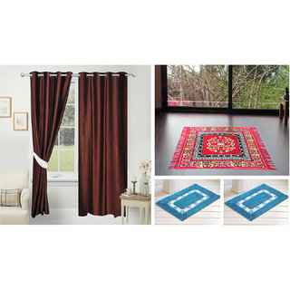 Azaani Beautiful 2 Solid Door Curtains With 1 Red Jute Seating Mat  Two Bathmat ,AZ2SOLIDCURTAIN1REDSITTINGMAT2BATHMAT-78