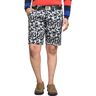 American Noti Blue Stretchable Cotton Lycra Slim Fit Men's Shorts(Bermuda)/3/4 th