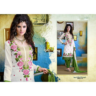 Heavy Embroidery Cotton Dress Material For Ladies
