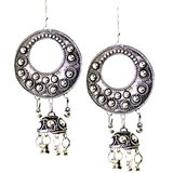 German Silver Bali With Jhumki Earring In Antique Finish.