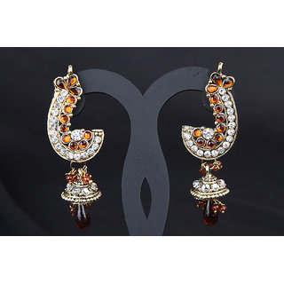 Jhumki An Elegant Earrings Set In Silver & Brown (AJER492(B))