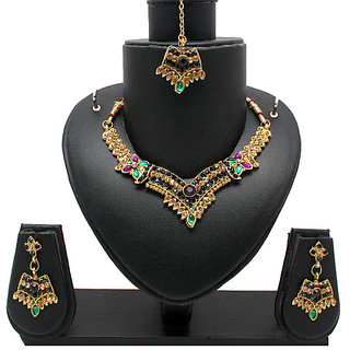 Gold Traditional Necklace In Voilet And Green Stones (AJN-SJ-101)