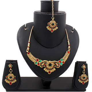 Gold Traditional Necklace In Maroon And Green Stones (AJN-SJ-103)