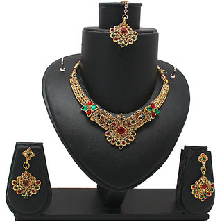 Gold Traditional Necklace In Maroon And Green Stones (AJN-SJ-104)
