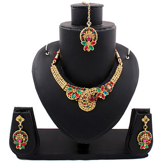Gold Traditional Necklace In Maroon And Green Stones (AJN-SJ-105)
