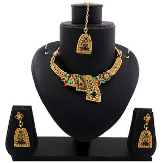 Gold Traditional Necklace In Maroon And Green Stones (AJN-SJ-106)