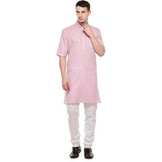 RG Designers 3/4 Sleeves Pink  White Modi kurta  Pyjama Set For Men-RGMODIPINK-48