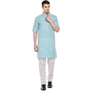 RG Designers 3/4 Sleeves Sky Blue  White Modi kurta  Pyjama Set For Men