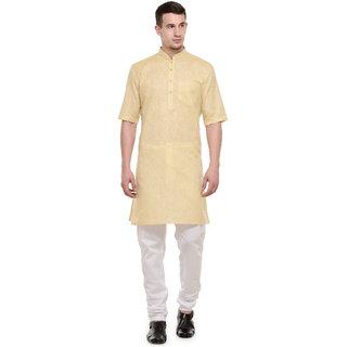 RG Designers 3/4 Sleeves Yellow  White Modi kurta  Pyjama Set For Men