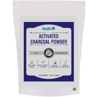 Healthvit Activated Charcoal Powder 100gm For face mask(pack of 2)