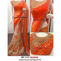 Mastani  Georgette and Net Orange Embroidered Saree With Havy Blouse