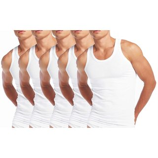 Zotic Men's White Cotton Vest - Pack Of 5