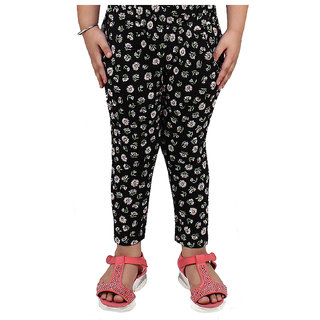 Meia for Girls Black Flower Printed Legging