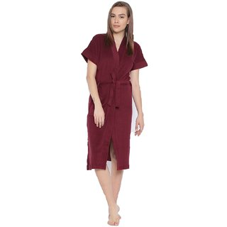 FeelBlue Womens Free Size Bathrobe(Maroon)