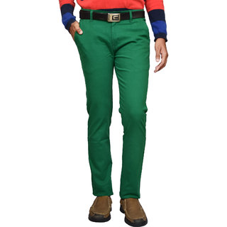 American Noti Stretchabel Green Cotton Lycra Chinos Men's Trouser