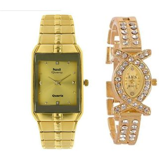 Hwt rectangle watch for mens+Aks dimond womens watch party wear combo pack