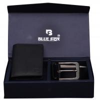 Men Formal Black Genuine Leather Wallet,Belt Combo