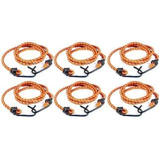 Heavy Duty Multicolour 8 Feet Elastic Rope with Metal Hook (Pack of 6)