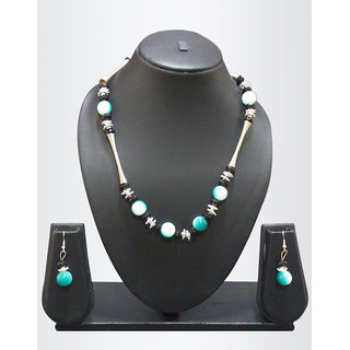 Green Ceramic Beaded Chunky Metallic Long Necklace Set