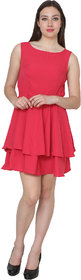 Rimsha Red fit and flare dress