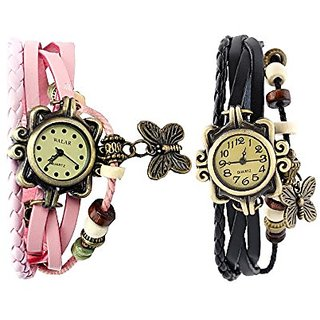 Vintage Analogue Designer Pink and Black Leather Watch For Woman (Combo Of 2)