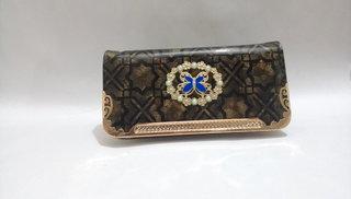 Black Color Butterfly Design Stylish Women Zipper Party Clutch Wallets Purses