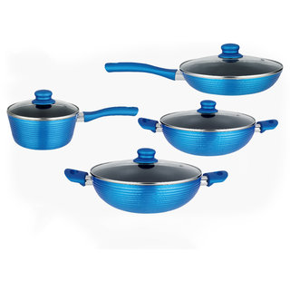 Nirlon Induction Based Bakelite, Nonstick, Aluminum Cookware Set 1.6ltr, 2 ltr, 3.25ltr, 1.6ltr ,8-Pieces,Blue