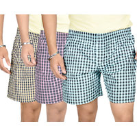 True Fashion Combo Of 3 Cotton Checkered Boxer Shorts SACBXR01