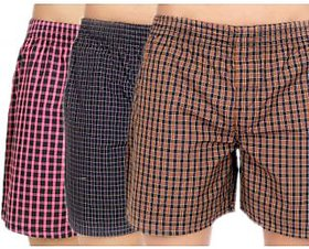 Cybernext Multicolored Checks Boxers For Men (Pack Of 3)