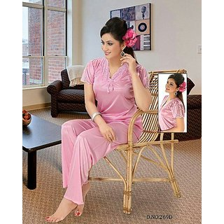 Hot Womens Sleep Wear T- Shirt   Pyjama Pant Navy 269D Pink Fun Sexy Pajama  Gift at Best Prices - Shopclues Online Shopping Store 767ee3268