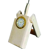 Cm Treder Wooden Folding Pen Stand With Analog Clock
