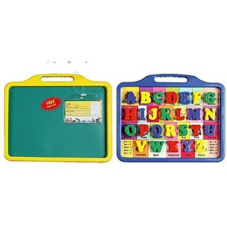 Avis Toyztrend Educational Alphabet Slate 2 In 1 To Learn Pictures, Spellings & Alphabets Along With Green Chalk Writing Board In Assorted Colour For Kids Ages 3+
