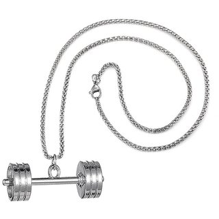 Men Style Fashion Jewelry Fitness Barbell Dumbbell With Box Chain Silver Stainless Steel Necklace Pendant For Men And Women