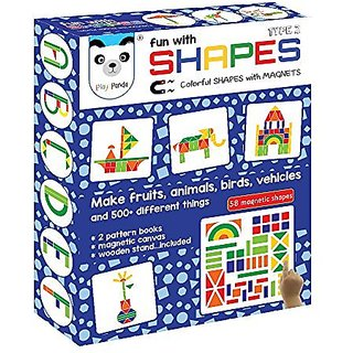 Play Panda Fun With Shapes Type 2 (58 Colorful Magnetic Shapes)(164 Designs + Magnetic Board + Wooden Stand Included )