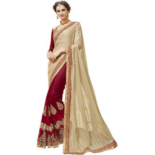 8a08bdc7b8 Buy TriveniSarees Maroon Georgette Embroidered Saree With Blouse ...