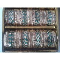 Traditional Crystal Glass Bangles Set