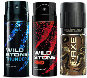 Wild stone Red, Wild stone Thunder and AXE Chocolate deodorant - 150 ml each (Combo of 3)